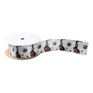 Red and White Anemone Blooms Pattern Floral Ribbon Satin Ribbon