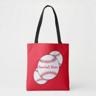 Red and White Baseball Mom Sports Tote Bag