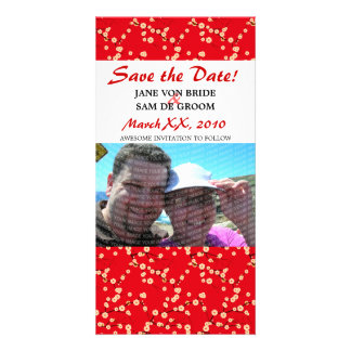 Red and White Cherry Blossoms Save The Date Customised Photo Card