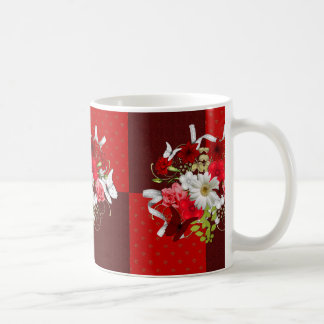 Red and White Floral Bouquet Scrappy Design Print Basic White Mug