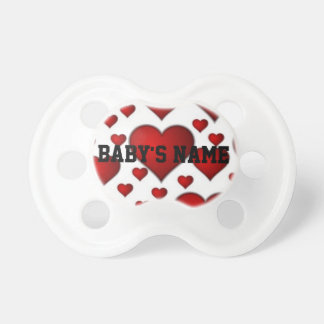 Red and white love hearts pattern baby pacifier