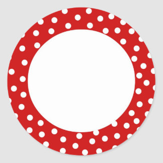 Red and white polka dot label round sticker
