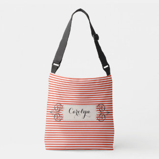 Red and White Stripe Add Name Customized Bag Tote Bag