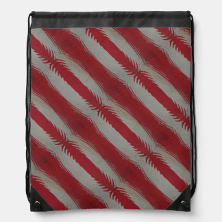 Red and White Stripes Rippled Drawstring Backpack