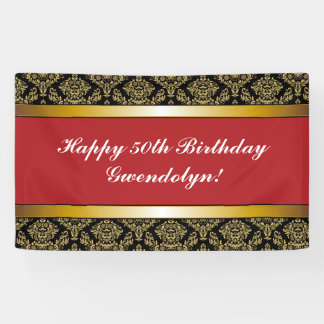 Red Any Age Gold Damask Birthday Banner