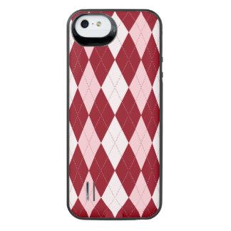 Red Argyle Crimson Pink Small Diamond Shape iPhone SE/5/5s Battery Case
