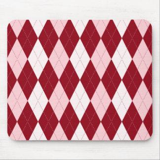 Red Argyle Crimson Pink Small Diamond Shape Mouse Pad