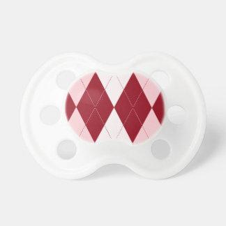 Red Argyle Crimson Pink Small Diamond Shape Pacifiers