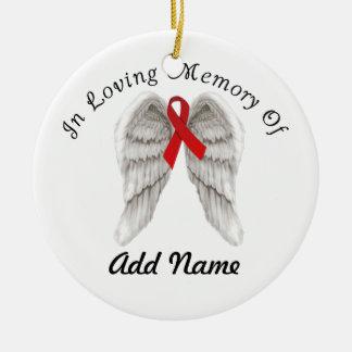 Red Awareness Ribbon Christmas Ornament In Memory