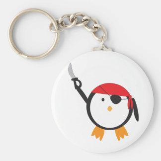Red Bandana Pirate Penguin Basic Round Button Key Ring