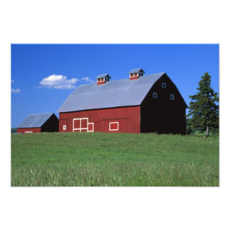 Red barn in Latah County, Idaho state PR MR) Photograph