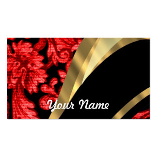 Red & black floral damask pack of standard business cards