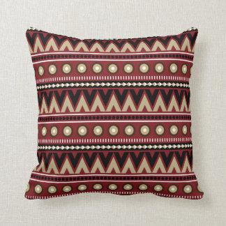Red Black Gold Aztec Modern Stylish Throw Pillow Cushions