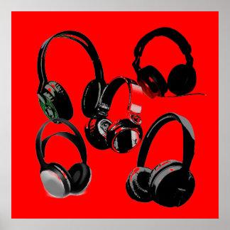 Red Black Headphone Silhouettes Pop Art Poster