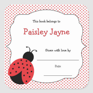 Red Black Ladybug bookplates / bring a book shower Square Sticker