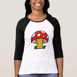 Red Black White Polka-Dot Retro Mushroom Tee Shirt