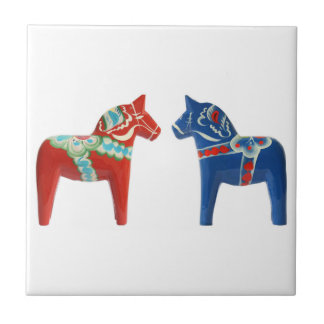 Red & Blue Dala Horse Small Square Tile
