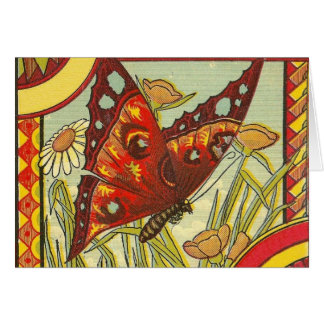 Red Butterfly  Crate Label - Card