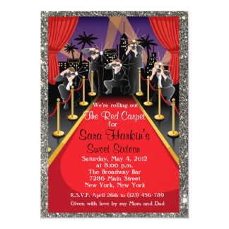 Red Carpet Hollywood Glitter Sweet 16 Invite