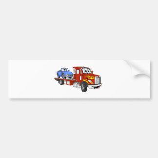 Red Cartoon Flatbed Tow Truck Bumper Sticker