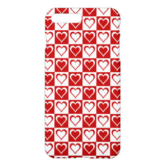 Red Checkered pattern with Hearts iPhone 7 Plus Case