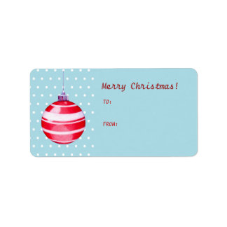 Red Christmas Ornament blue Gift Tag Label Address Label