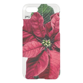 Red Christmas Poinsetta Personalized iPhone 7 Case