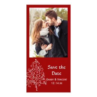 Red Christmas Tree Winter Wedding Save the Date Photo Card Template