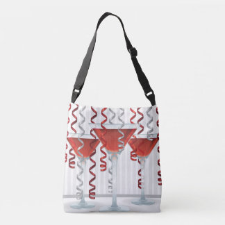 Red cocktail and ribbon tote bag