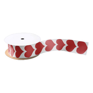 Red Cute Hearts Pattern Ribbon Satin Ribbon