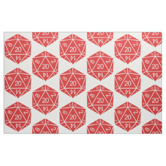 Red D20 Dice Fabric