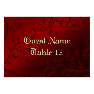 Red Damask Gothic Reception Guest Place Card Pack Of Chubby Business Cards