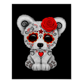 Red Day of the Dead Sugar Skull Bear Black Poster