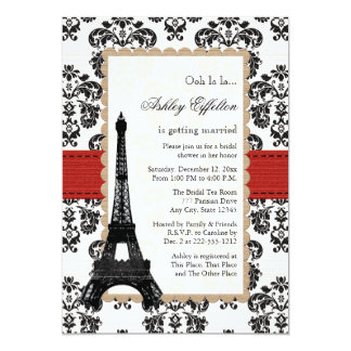 Red Eiffel Tower Parisian Bridal Shower 13 Cm X 18 Cm Invitation Card