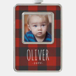 Red Flannel Holiday Silver Plated Framed Ornament