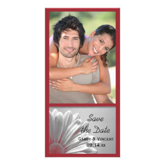 Red Floral Highlights Wedding Save the Date Personalised Photo Card
