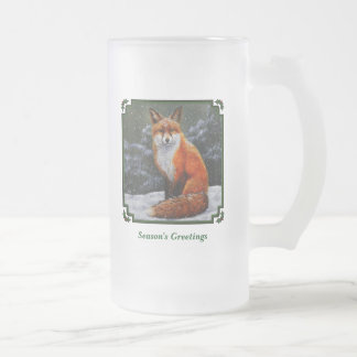 Red Fox in Falling Snow Frosted Glass Mug