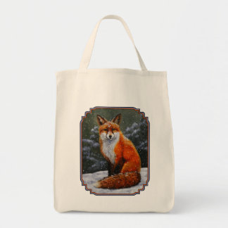 Red Fox in Falling Snow Grocery Tote Bag