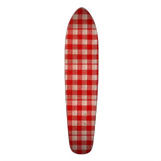 Red Gingham Checkered Pattern Burlap Look Custom Skateboard