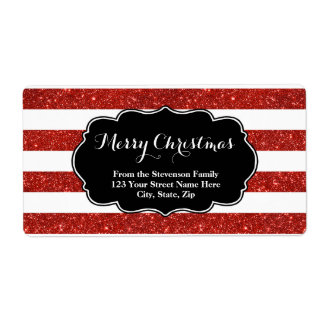 Red Glitter Stripes Christmas Address Label