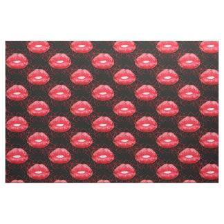 Red glowing lips with confetti fabric