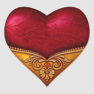 Red & Gold Decorative Heart Sticker