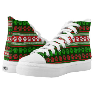 Red green paw print pattern high top sneakers
