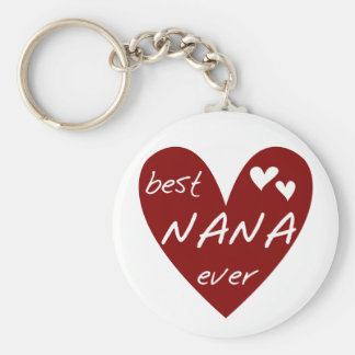 Red Heart Best Nana Ever T-shirts and Gifts Basic Round Button Key Ring