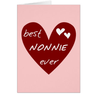 Red Heart Best Nonnie Ever T-shirts and Gifts Greeting Card