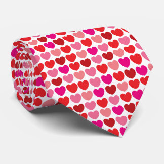 Red heart pattern tie