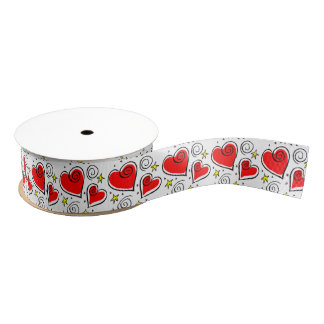 Red Hearts Pattern Ribbon Grosgrain Ribbon