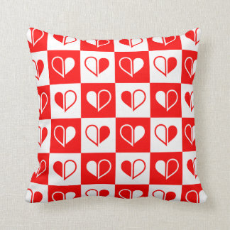 Red hearts pattern throw cushions