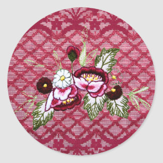 Red lace and floral design products round sticker