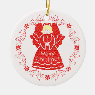 Red Lace Angel Christmas Round Ceramic Decoration